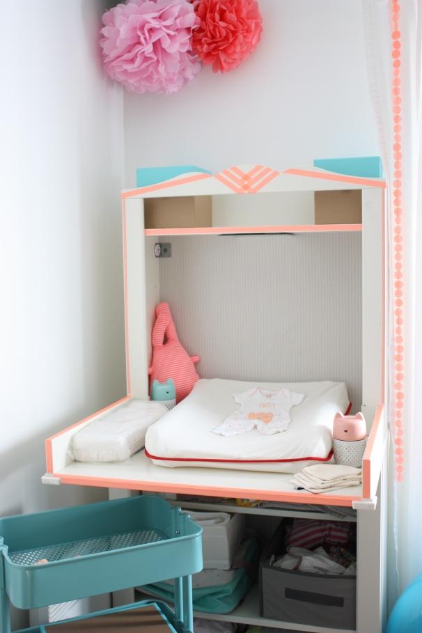 hensvik table à langer customisée washi déco bébé
