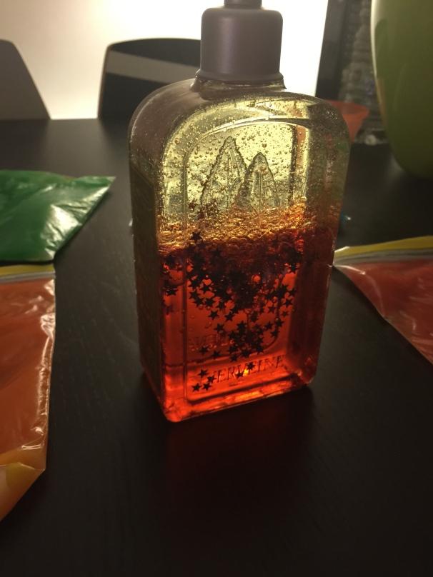 DIY enfants huile eau colorant alimentaire paillettes