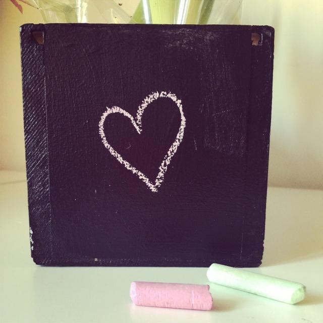 DIY chalkboard tableau noir jardinière