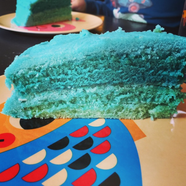 blue layer cake, ombre cake